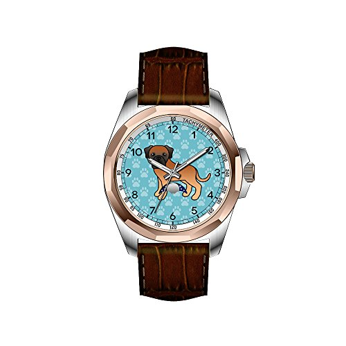 AIMS Christmas gift Mens gold Personalized Unique Fashion Design Waterproof Wrist Watch Apricot Coat Old English Mastiff Dog Cartoon Wristwatches