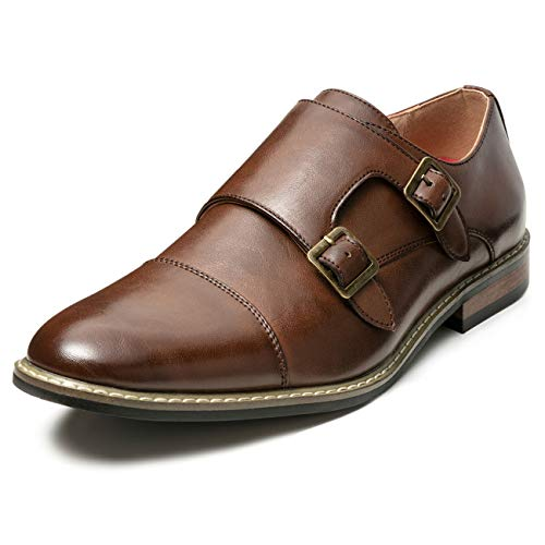Men's Classic Monk Dress Shoes Leather Lined Formal Oxford (15 M US, Brown7)