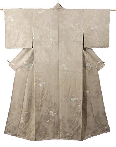 不適当ラテン北米リサイクル 着物 正絹 袷 木の葉の意匠 縫い取り 裄60.5cm 身丈154cm
