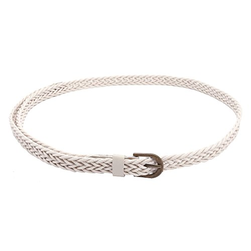 CHIC DIARY Women Braided Waist Belt Skinny Woven Belt for Dress (White) ()