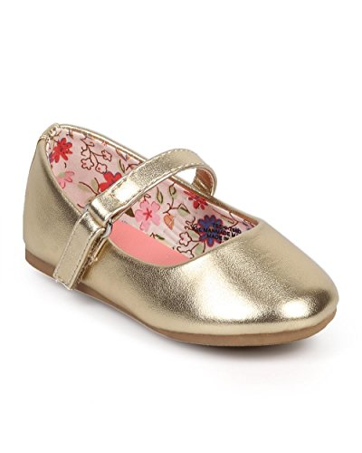 Little Angel DC37 Girl Metallic Round Toe Classic Velcro Mary Jane Flat (Toddler/Infant) - Gold (Size: Toddler 4) Designer Infant Shoes