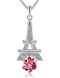 Eiffel Tower Change Color Necklace with Swarovski Crystals, Blue/Purple Crystal Necklace, Birthstone Birthday Gifts for Women, Woman Fashion Jewelry Necklace