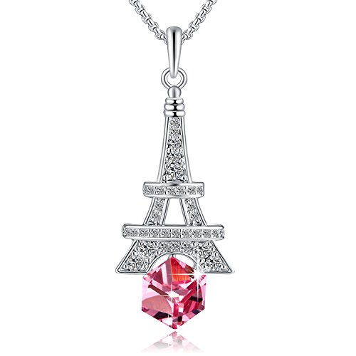 Purple Swarovski Crystal Cube - PLATO H Eiffel Tower Change Color Pendant Necklace with Swarovski Cube Crystal, Purple Pink Crystal Necklace, February birthstone Birthday Gifts for Woman Girls