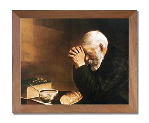Art Prints Inc Daily Bread Man Praying At Dinner Table Grace Religious Wall Picture Honey Framed Art - Pictures Men Of
