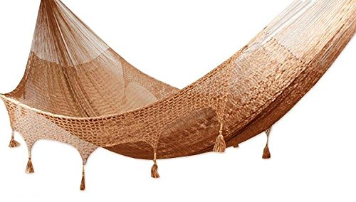 NOVICA Nylon Brown Rope Hammock 'Copper Filigree' (Triple) - Authentic: an original NOVICA fair trade product in association with National Geographic Certified: comes with an official NOVICA Story Card certifying quality & authenticity Product info: 100% nylon with pinewood beads - patio-furniture, patio, hammocks - 41W0kqcODuL -