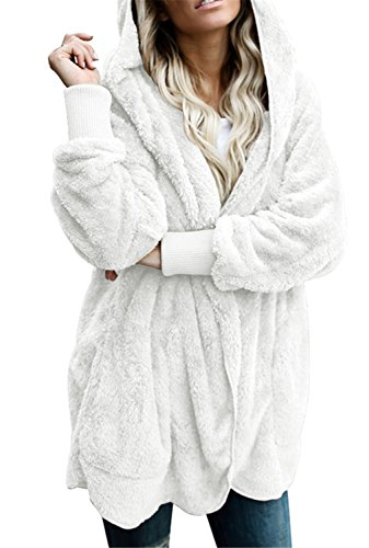 (Dokotoo Womens Casual Cozy Warm Ladies Fuzzy Winter Fall Open Front Long Sleeve Fleece Pocket Hooded Cardigan Sweater Jacket Coat Outwear White Small)
