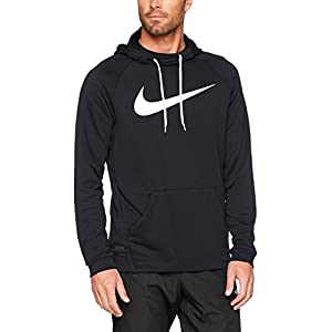 NIKE Men's Dry Pullover Swoosh Hoodie, Black/White, Large