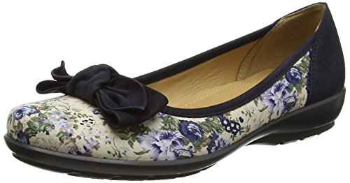 Hotter Jewel, Bailarinas Para Mujer Multicolour (Cream Floral-Navy)