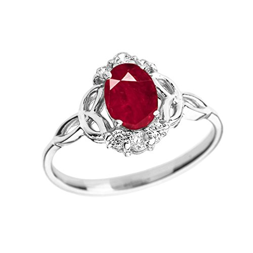 Gold Genuine Ruby Ring - Elegant 10k White Gold Diamond Trinity Knot Proposal Ring with Genuine Ruby (Size 4)