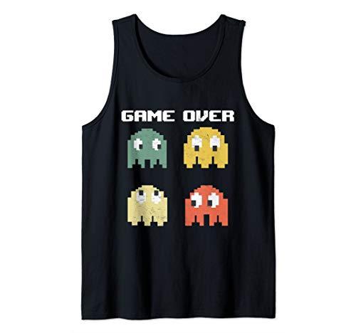 Vintage Game Over 80s Nostalgia Retro Arcade Ghost Old Gamer Tank Top