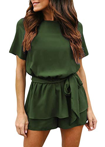 (Womens Summer Casual Short Sleeve Waist Tie Belted Rompers Round Neck Keyhole Back Petite Peplum Jumpsuits Small Army Green)