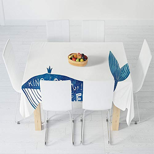 Fashionable Tablecloth,Whale,for Secretaire Square Table Office Table,47.2 X 47.2 Inch,Kind of Ocean is My Best Friend
