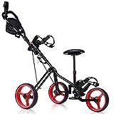 Best Golf Push Carts - Tangkula Golf PushCart Swivel Foldable 3 Wheel Push Review
