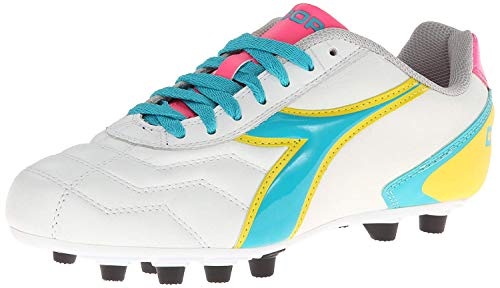 Diadora Women's Capitano LT MD PU Leather Soccer Shoes (5 B(M) US Women's, White/Teal/Yellow/Pink)