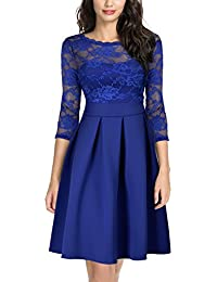 Women's Vintage Floral Lace 2/3 Sleeve Bridesmaid Party...