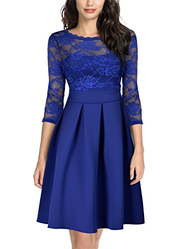 Miusol Women's Vintage Floral Lace 2/3 Sleeve Bridesmaid Cocktail Party Dress, Bright Blue, Medium