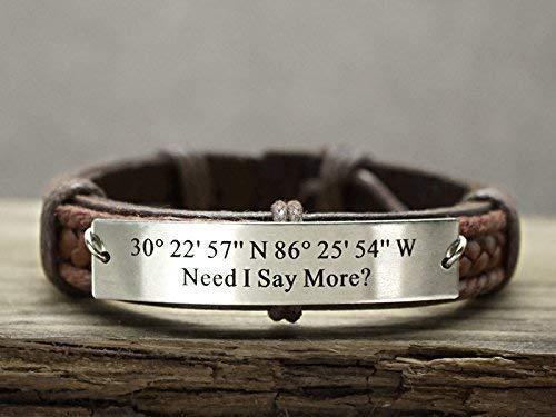 Personalized Latitude Longitude Bracelet, Silver Coordinate, Mens Leather Cuff, Custom Engraved Quote