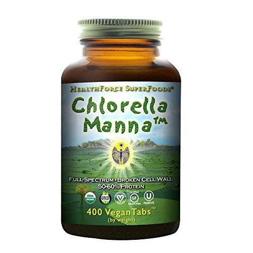 HealthForce SuperFoods Chlorella Manna - 400 Vegan Tablets - Freshwater Alga Supplement, Supports Detoxification, Antioxidant - Organic, Gluten Free - 66 - Detoxification Supplements