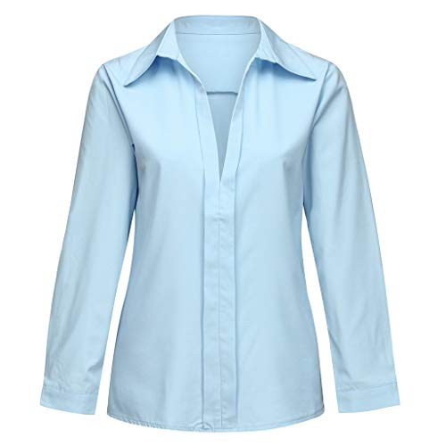 - AopnHQ Plus Size Shirts Tops Blouse for Women Sexy, Women's Loose Long Sleeves Deep V Neck T-Shirt Tees in Summer Light Blue