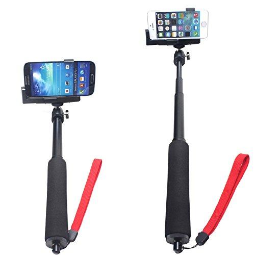 SunSmart Extendable Telescopic Waterproof Self-portrait Photo Selfie Handheld Stick Monopod with Adajustable Extendable monopod mount Phone Camera Holder for iPhone 5/5s 6 6 plus Samsung Camera