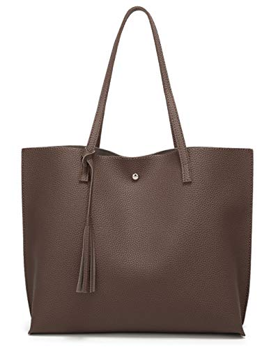 Women's Soft Leather Tote Shoulder Bag from Dreubea, Big Capacity Tassel Handbag Coffee