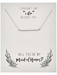 "Sterling Silver Cubic Zirconia""Be My Maid of Honor"" Gift On Sentiment Card Bar Necklace, 18"""