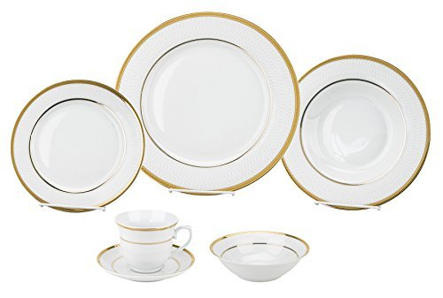 Porcelain Dinnerware Set, 24-Piece Service For 4 by Lorren Home Trends/Josephine Design: Dinner Plates, Soup Bowls, Salad Plates, Coffee Cups with Saucers, Fruit Bowls from Lorren Home Trends