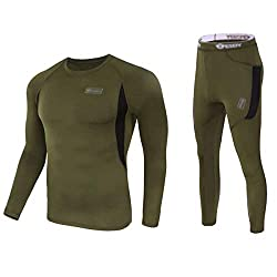 Men's Thermal Underwear Camouflage Set of Long Sleeve Top Long Johns