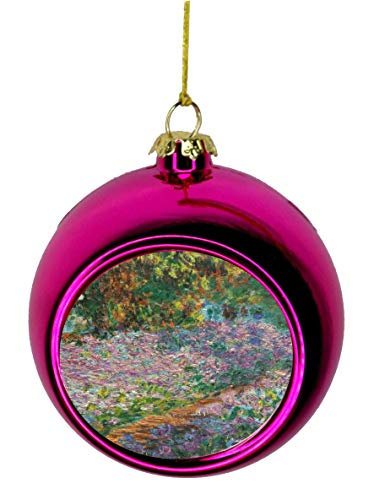 Rosie Parker Inc. Artist Claude Monet Irises in Monet's Garden Painting Bauble Christmas Ornaments Pink Bauble Tree Xmas Balls