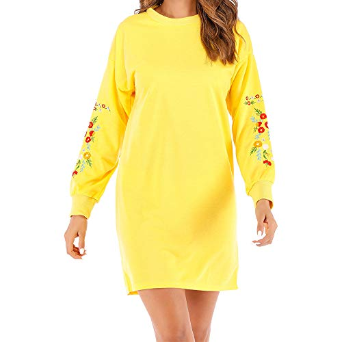 Wobuoke Women Winter Casual Long Sleeve Floral Embroidery Sweatshirt Sweater Dress -