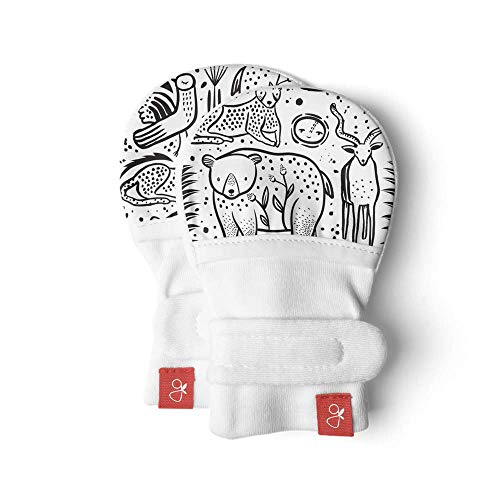 Goumimitts, Scratch Free Baby Mittens, Organic Soft Stay On Unisex Mittens, Stops Scratches and Prevents Germs (Kinship, 0-3 Months)
