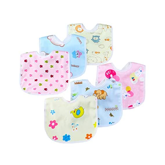 Uber World Cotton Baby Bibs Feeding and Drooling for Infants and Toddlers, Two Layered (Medium, Multicolor, 6 Piece)