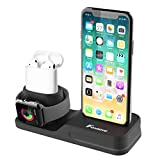 Foxnovo 3 in 1 Charging Stand iPhone AirPods Apple Watch Charger Dock Station Silicone, Support Apple Watch Series 3/2/1/AirPods/iPhone X/8/8 Plus/7/7 Plus/6s