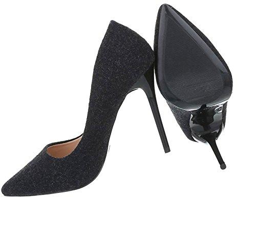 Damen Pumps Schuhe Elegant High Heels Schwarz