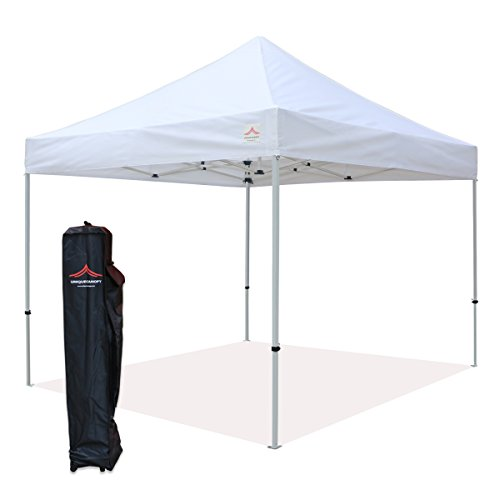 UNIQUECANOPY 300D Classic 10x10 Ez Pop up Canopy Instant Tent Outdoor Party Portable Folded Commercial shelter, with Wheeled Carrying Bag Steel White