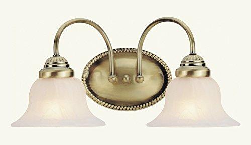 Antique Brass Edgemont Bathroom Vanity Bar with 2 Lights - Light Edgemont 2