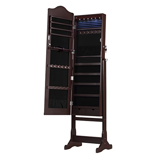 - AATop Jewelry Armoire with Mirror Free Standing LED Light Mirrored Jewelry Cabinet with Lock, Organizer Storage for Rings, US Stock