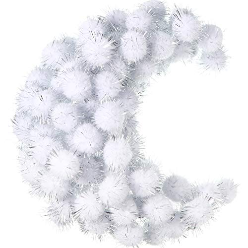 500 Pieces Glitter Pompoms 1 Inch Fuzzy Pom Poms Arts and Crafts Making Balls for Hobby Supplies and Craft DIY Decoration (White)