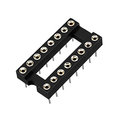 uxcell 10pcs 2.54mm Pitch 7.6 Row Pitch 2 Row 16 Round Pins Soldering DIP IC Chip Socket Adaptor