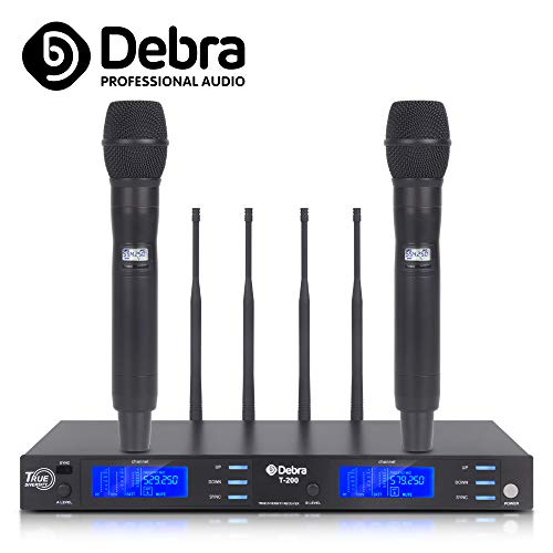 Top quality, Clean sound for singing stage!!! Professional UHF True diversity 2 channel wireless microphones system with Cordless Mic