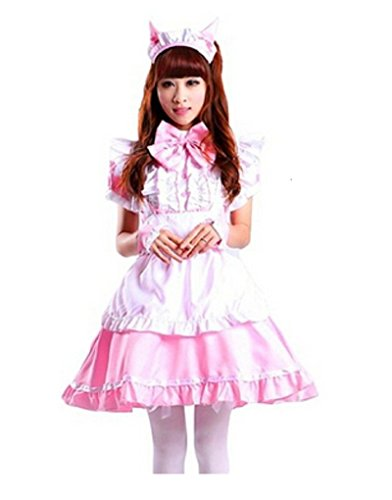 [Shanghai Story Women Cat Ear French Maid Cosplay Dress Halloween Costume Pink XL] (Pink Renaissance Dress)