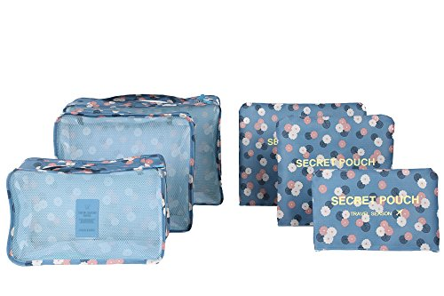 6 sets travel Organizers Packing Cubes Luggage Organizers Compression Pouches (Blue Daisy)