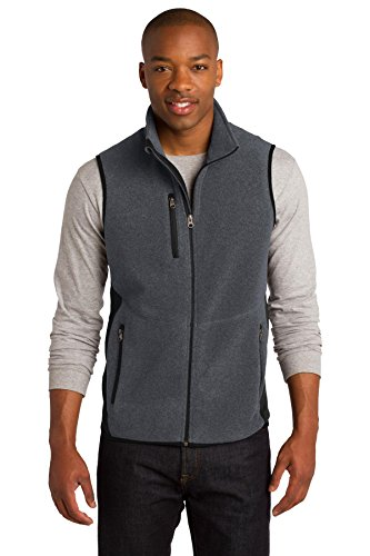 Port Authority Men's R Tek Pro Fleece Full Zip Vest M Charcoal Heather/Black