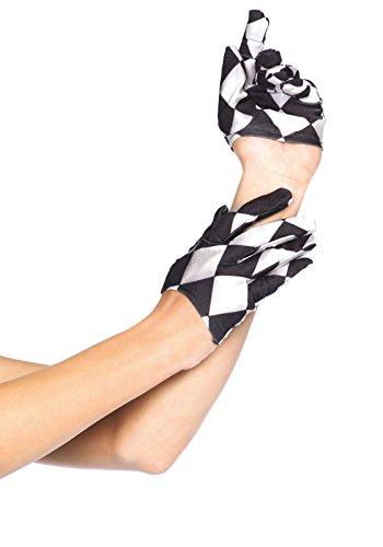Leg Avenue Women's Harlequin Cropped Gloves, Black/White, One Size