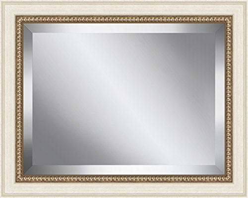 Ashton Art & Décor White with Antique champagne Bead Framed Beveled Plate Glass Mirror, 26 by - Dcor Plate Wall