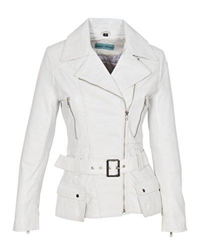 En Véritable Taille Ceinture Ajusté Longueur Moyenne Biker Zippé Femmes Blanc Cuir Veste ManteauHannah c3RqA54LjS