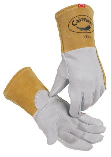 Caiman 1864-4 Medium Genuine American Deerskin Tungsten Inert Gas Welding Glove with Large Lean on Patch, Gray and Gold (Deerskin Welding Gloves)