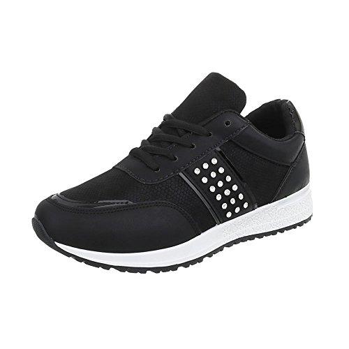 Nero P Donna Scarpe Sneakers Piatto 18 da Low Ital Sneaker Design zPqx8Unf