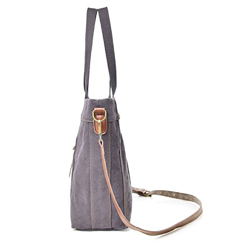 Women's Gray Shoulder Bag Canvas Hobo Totes Ladies Handbag nSARgn