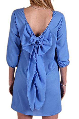 Casual suelto Mini vestido de la mujer Blue